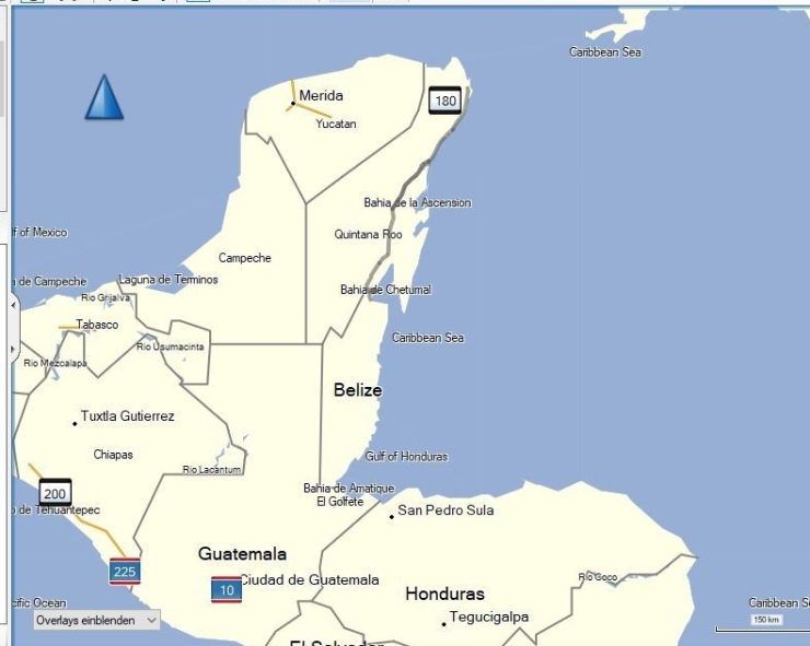 Karte Mexiko,Belize, Guatemala